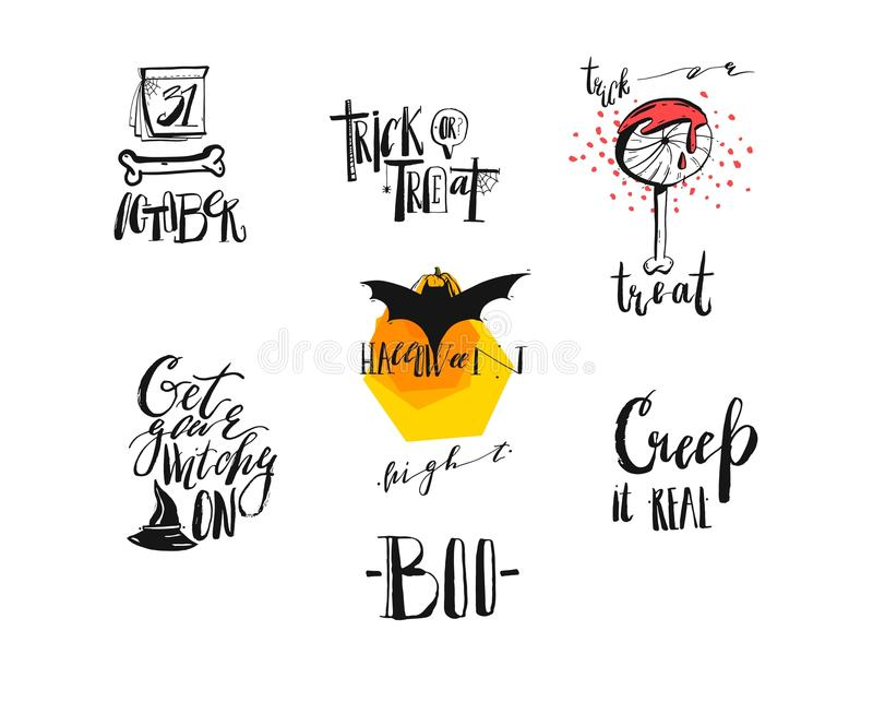 Hand drawn vector abstract handwritten modern calligraphy Halloween quotes,signs,logo,icons,illustrations,elements royalty free illustration