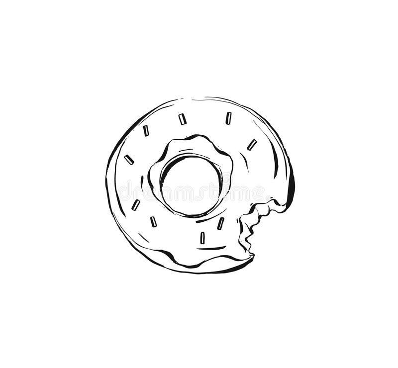 Hand drawn vector abstract ink realistic graphic sketch drawing illustration with glazed donut dessert isolated on white vector illustration