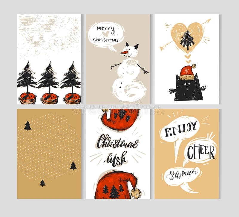 Hand drawn vector abstract Merry Christmas greeting card collection template set with Christmas trees,snowman,funny cute royalty free illustration