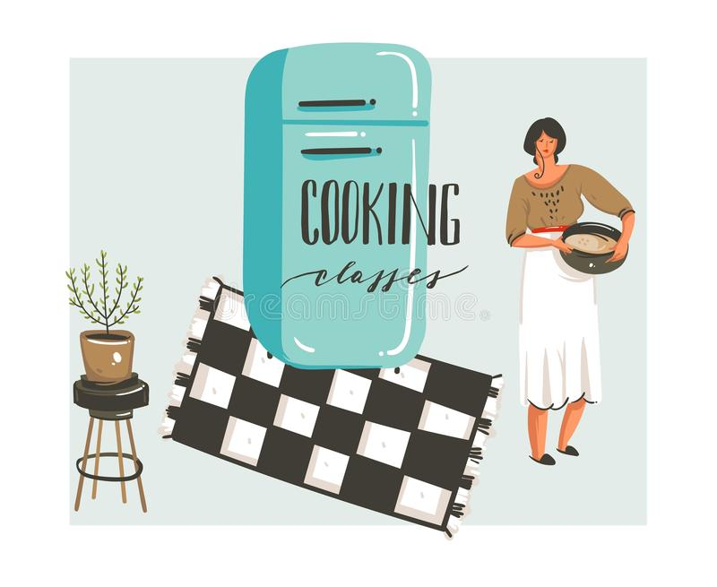 Hand drawn vector abstract modern cartoon cooking class illustrations poster with retro vintage woman chef,refrigerator royalty free illustration