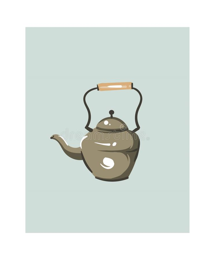 Hand drawn vector abstract modern cartoon cooking time fun illustrations icon with big vintage teapot isolated on white. Background.Food cooking illustrations vector illustration