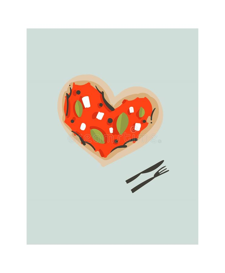 Hand drawn vector abstract modern cartoon cooking time fun illustrations icon with heart shape big pizza isolated on stock illustration