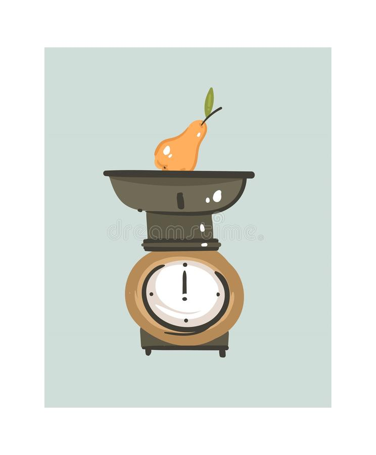 Hand drawn vector abstract modern cartoon cooking time fun illustrations icon with retro vintage kitchen scale isolated. On white background.Food cooking royalty free illustration