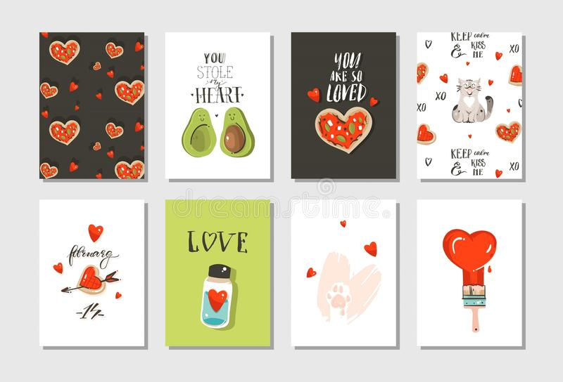 Hand drawn vector abstract modern cartoon Happy Valentines day concept illustrations cards set collectionwith cute cats. Pizza,hearts,avocado and handwritten vector illustration