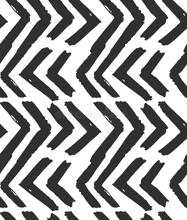Hand drawn vector abstract rough geometric monochrome seamless zig zag chevron pattern in black and white colors. Hand royalty free illustration