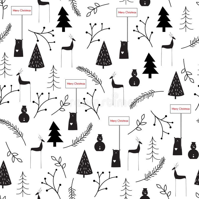 Hand drawn vector abstract Scandinavian Christmas black white seamless pattern. vector illustration