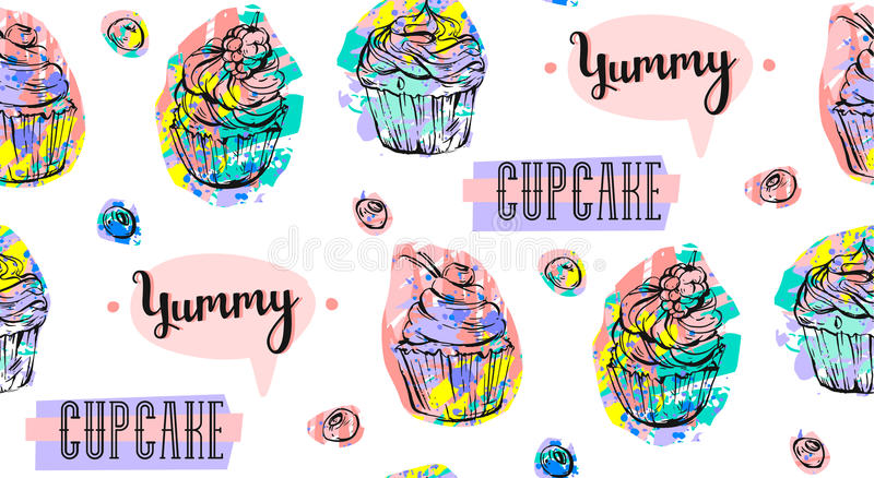 Hand drawn vector abstract seamless artistic abstract creative colorful cupcakes and berries pattern isolated on white royalty free illustration