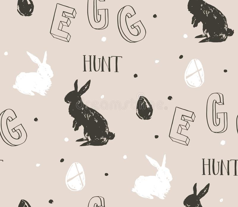 Hand drawn vector abstract sketch graphic scandinavian freehand textured modern collage Happy Easter cute simple bunny royalty free illustration