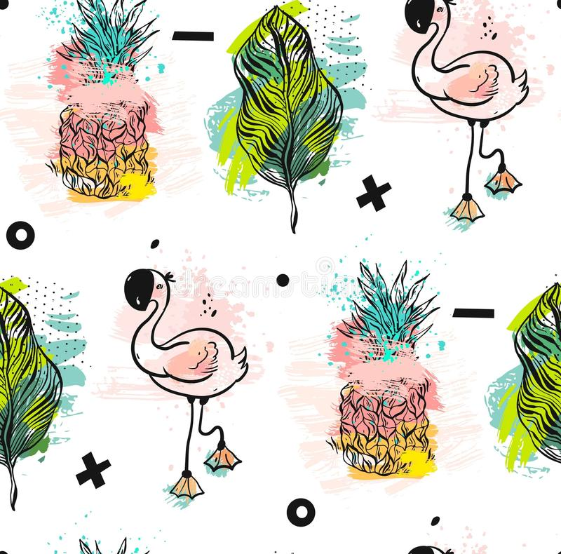 Hand drawn vector abstract summer time fun seamless pattern with pink flamingo,tropical palm leaves and pineapple in. Bright colors on white background.Hipster stock illustration