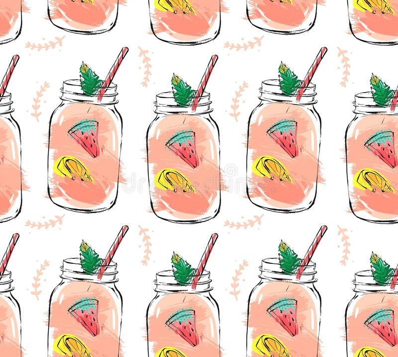 Hand drawn vector abstract summer time organic fresh fruits seamlees pattern with cocktail in glass bottle jar stock illustration