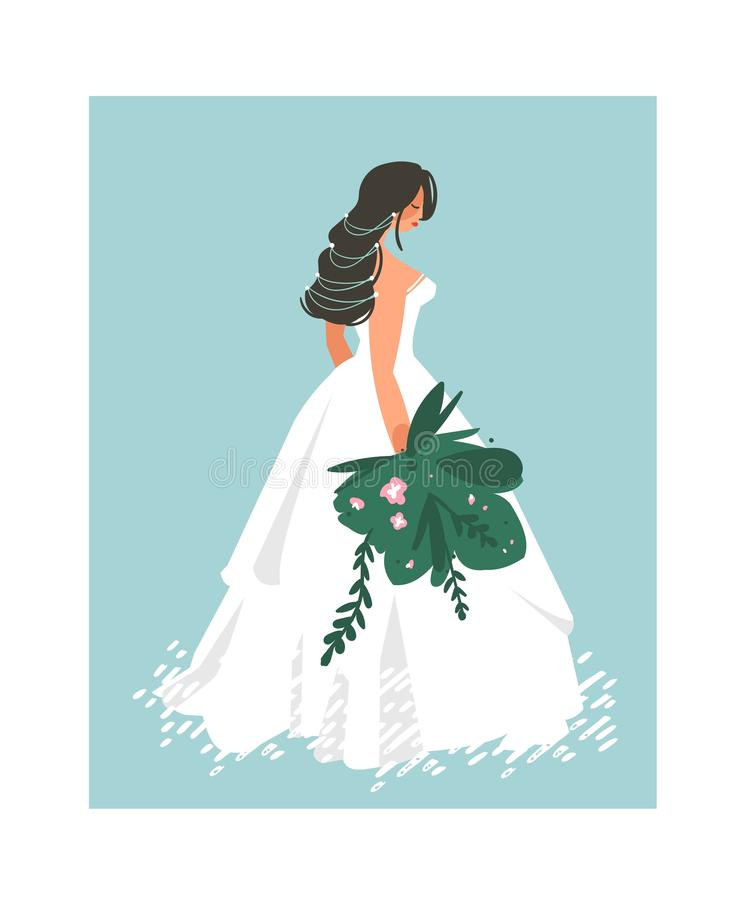 Hand drawn vector abstract wedding bridal in white dress illustration isolated on blue background vector illustration