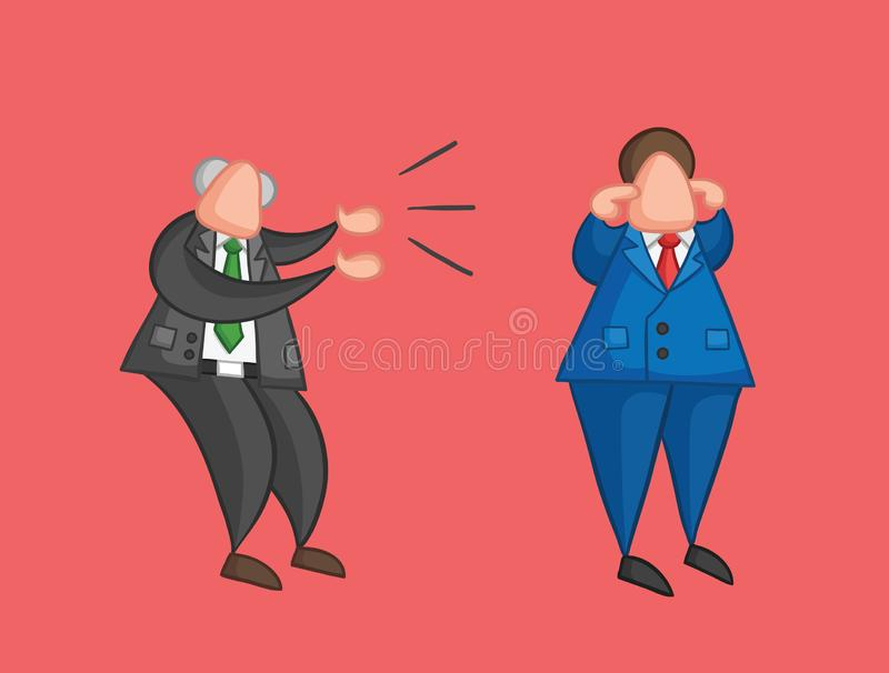 Hand-drawn vector angry boss yelling at businessman worker and he is closing his ears. Hand-drawn vector illustration angry boss yelling at businessman worker royalty free illustration