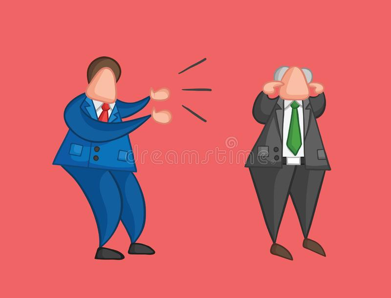 Hand-drawn vector angry businessman worker yelling at boss and boss is closing his ears. Hand-drawn vector illustration angry businessman worker yelling at boss stock illustration