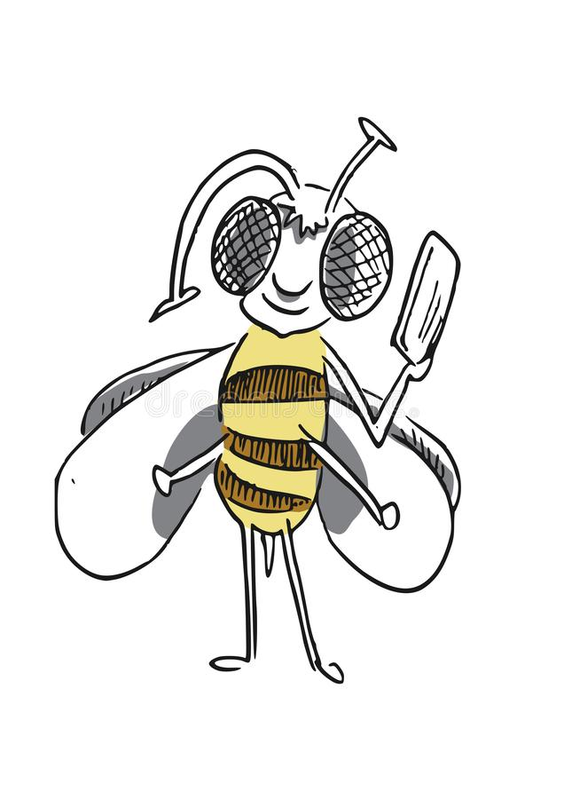 Hand drawn vector art of a bee with a phone. A bee holding a mobile phone. Vector art illustration of a cute little bee royalty free illustration
