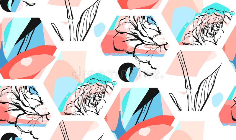 Hand drawn vector artistic universal textured abstract seamless pattern with hexagon shapes,textures and nature floral royalty free illustration