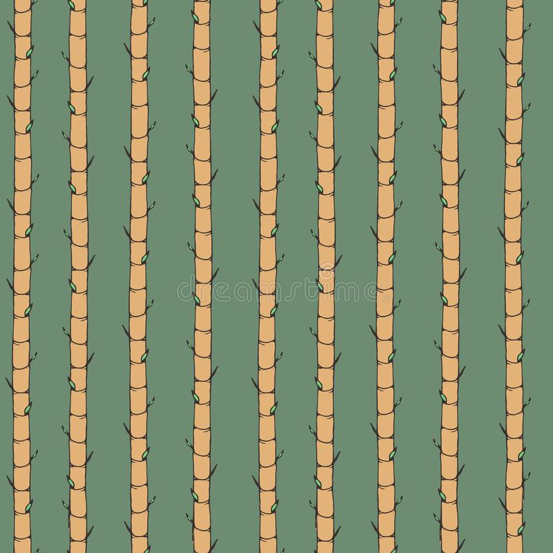 Hand drawn vector asian seamless pattern with bamboo. Oriental vertical ornament on the green background royalty free illustration