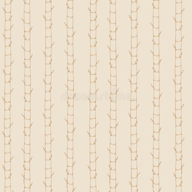 Hand drawn vector asian seamless pattern containing bamboo contours. Vertical ornament in pastel colors on the beige background vector illustration