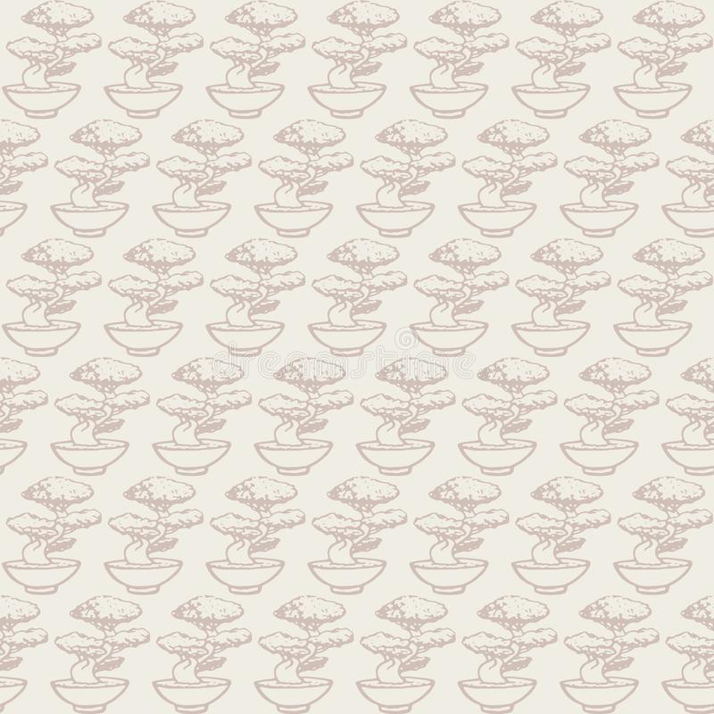 Hand drawn vector asian seamless pattern containing japanese bonsai tree contours. Ornament in pastel colors on the light beige background stock illustration
