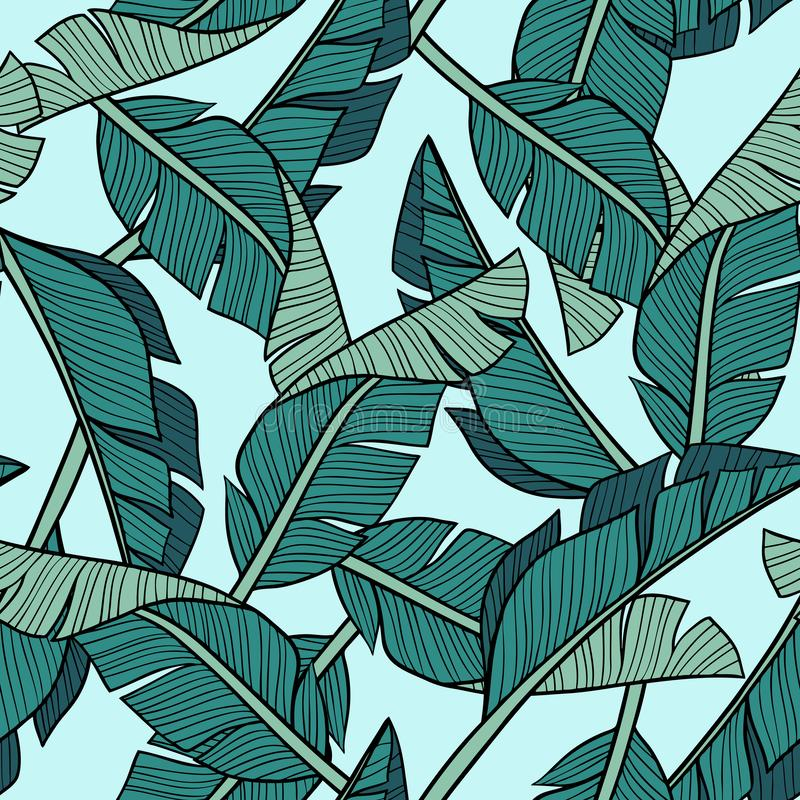 Hand drawn vector banana leaves on light blue background. royalty free illustration