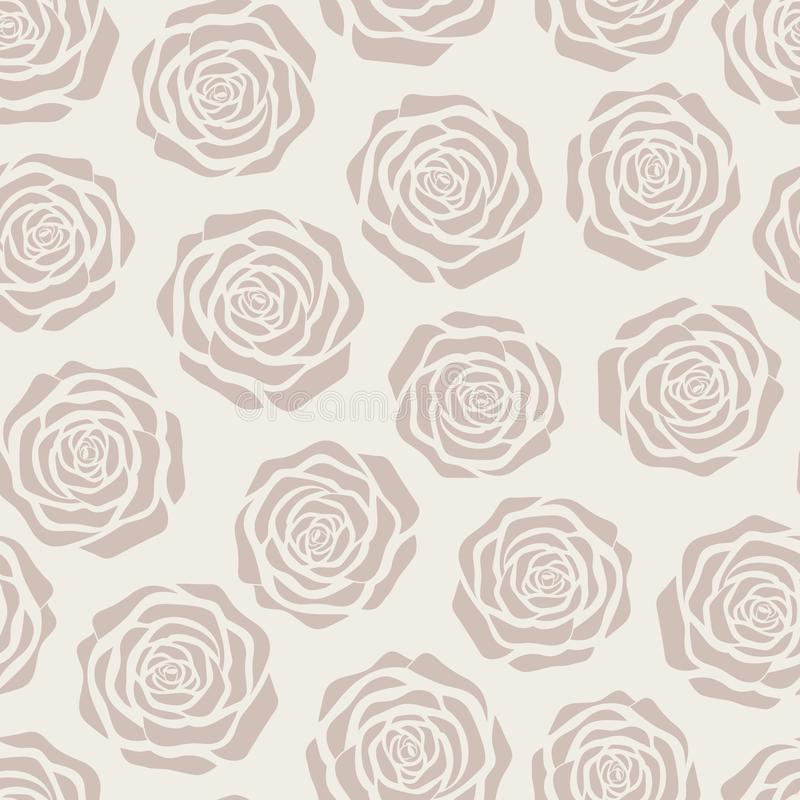 Hand drawn vector brown roses silhouettes seamless pattern on the beige background vector illustration