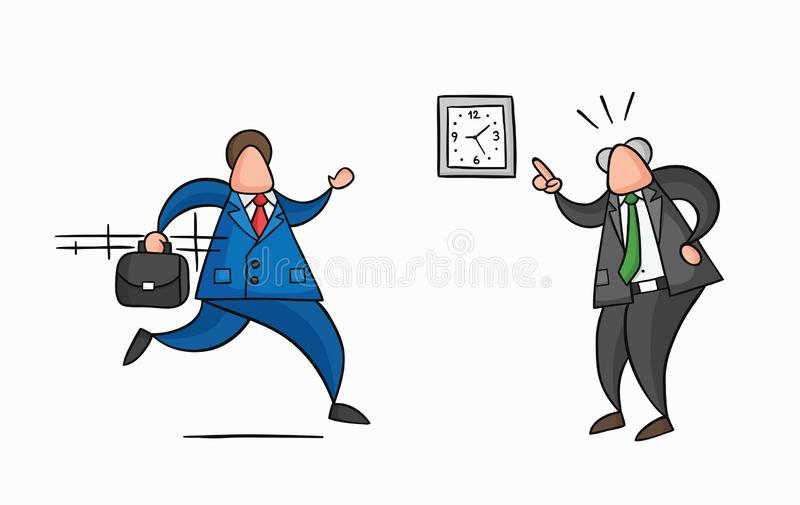 Hand-drawn vector businessman worker late for work and angry boss shows him what time is it. Hand-drawn vector illustration businessman worker late for work and royalty free illustration