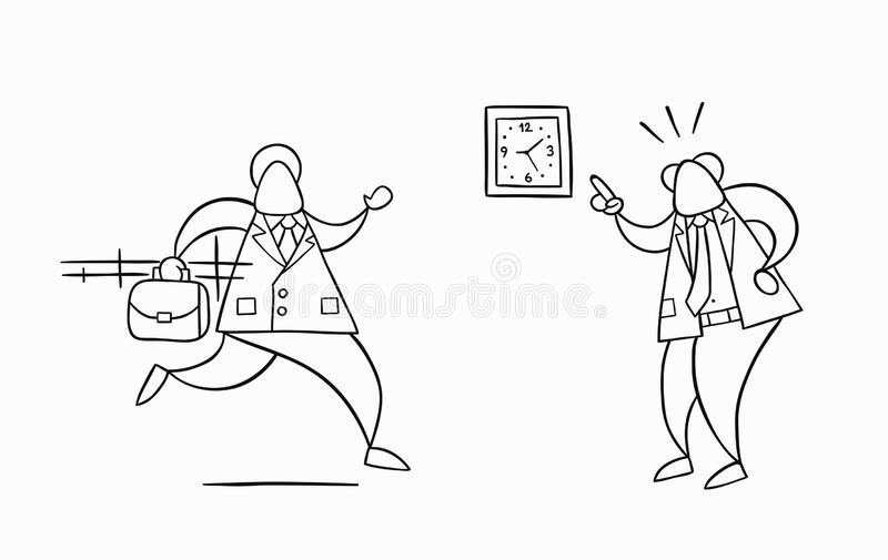 Hand-drawn vector businessman worker late for work and angry boss shows him what time is it. Hand-drawn vector illustration businessman worker late for work and vector illustration