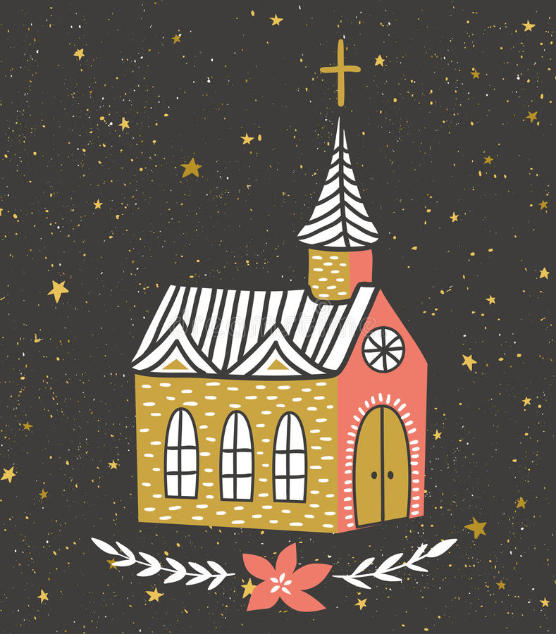 Hand drawn vector card with the Catholic temple and starry sky. Christmas print design. vector illustration