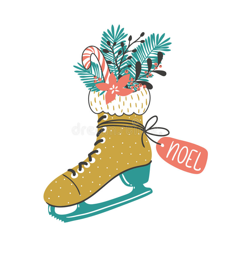 Hand drawn vector card with skate and winter christmas bouquet . Christmas print design. royalty free illustration