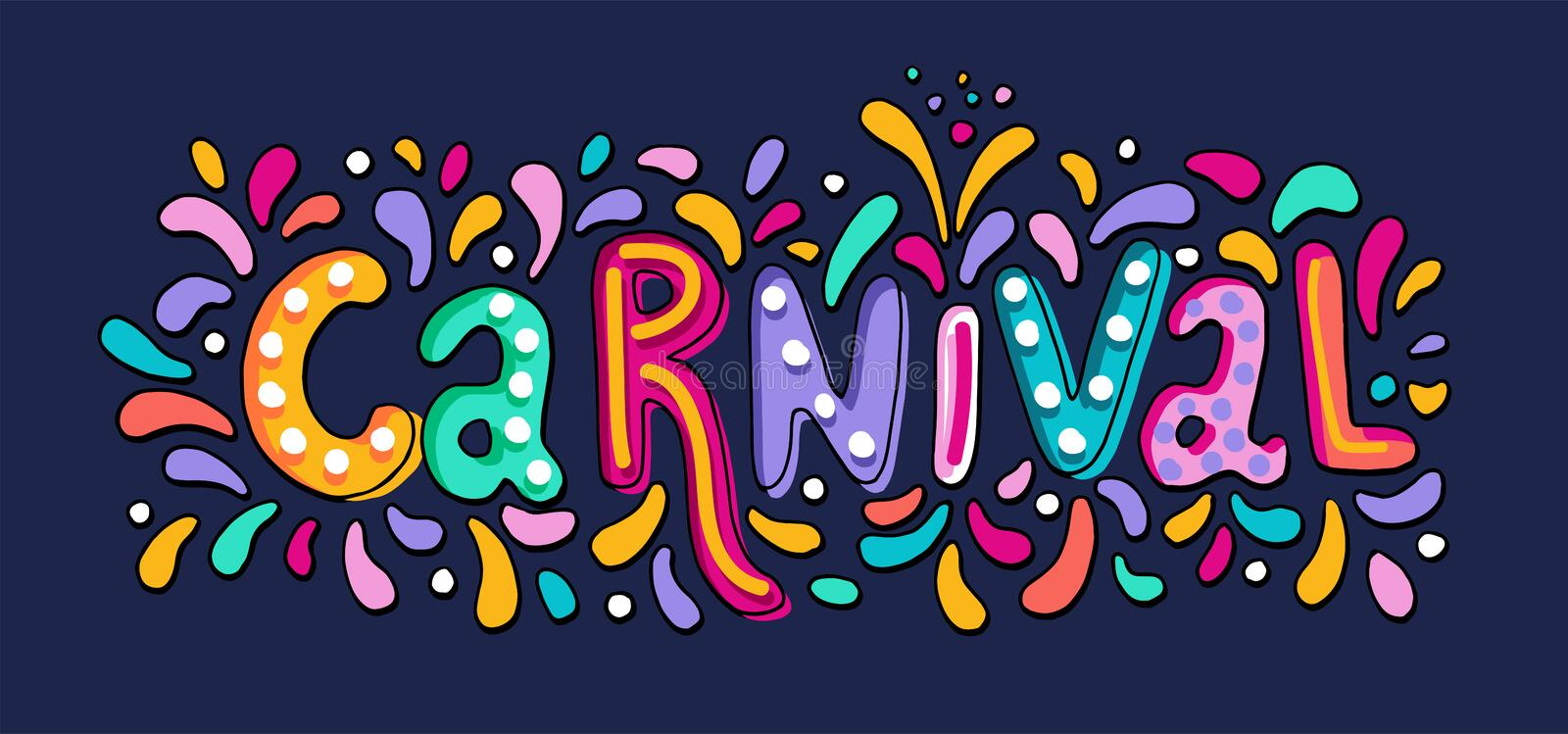 Hand drawn vector Carnival Lettering with Flashes of firework, colorful confetti. Festive title, headline banner. royalty free illustration
