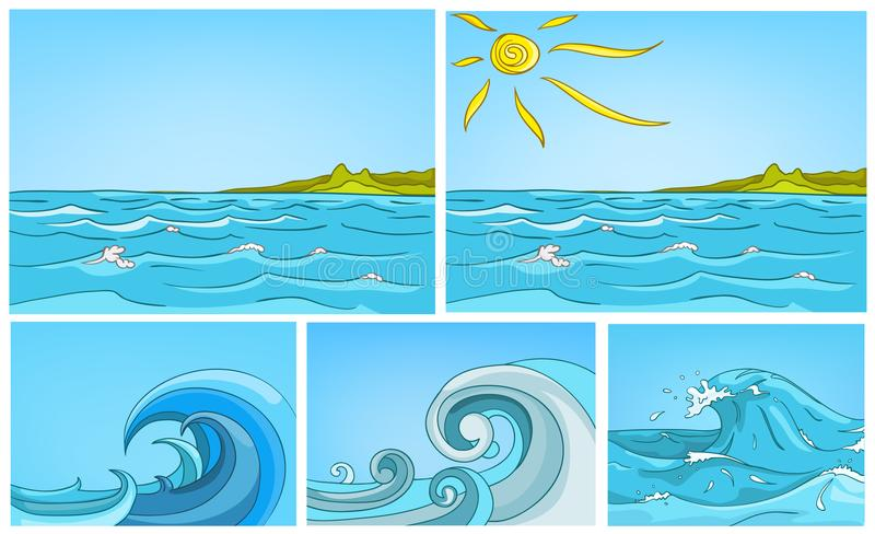 Vector cartoon set of sea backgrounds. royalty free illustration