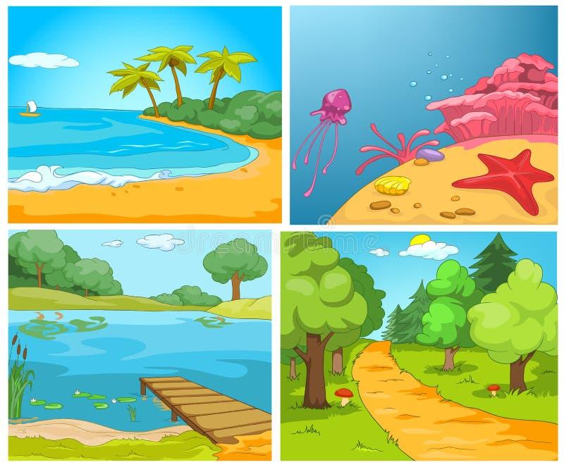 Vector cartoon set of summer backgrounds. royalty free illustration