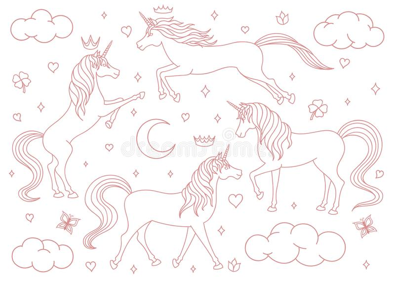 Hand drawn vector cartoon unicorns outline set isolated on white background. Magic creatures with stars, moons, clouds, butterflie royalty free illustration