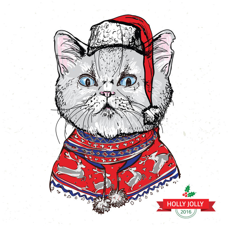 Hand drawn vector of cat with christmas stock illustration
