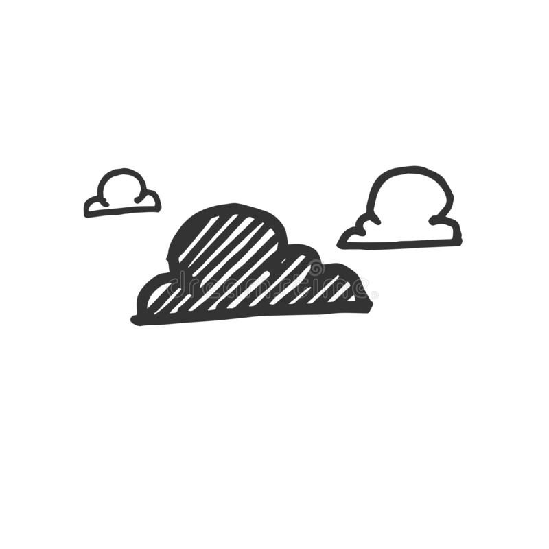 Hand Drawn Vector Clouds icons isolated on white background. symbols.  royalty free illustration