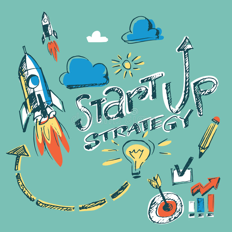 Hand drawn vector concept inforgraphics - startup strategy royalty free illustration
