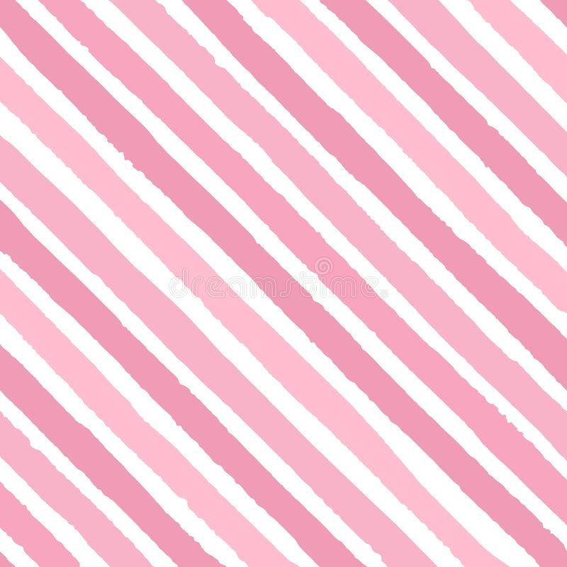 Hand drawn vector diagonal grunge stripes of bright pink colors seamless pattern on the white background stock illustration