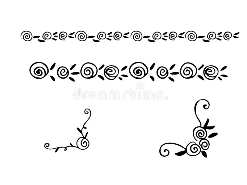 Hand drawn vector dividers. Lines, borders and laurels set. Doodle design elements. royalty free illustration