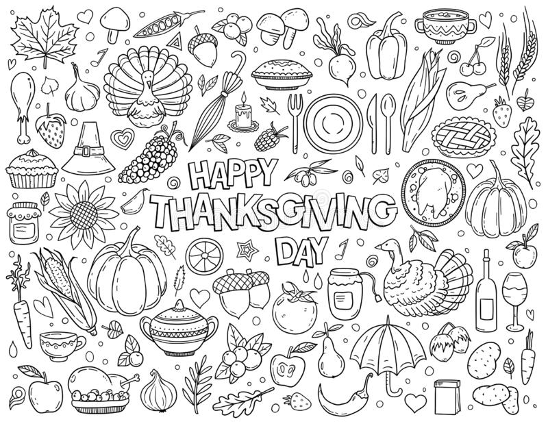 Hand drawn vector doodle set of Thanksgiving vector illustration