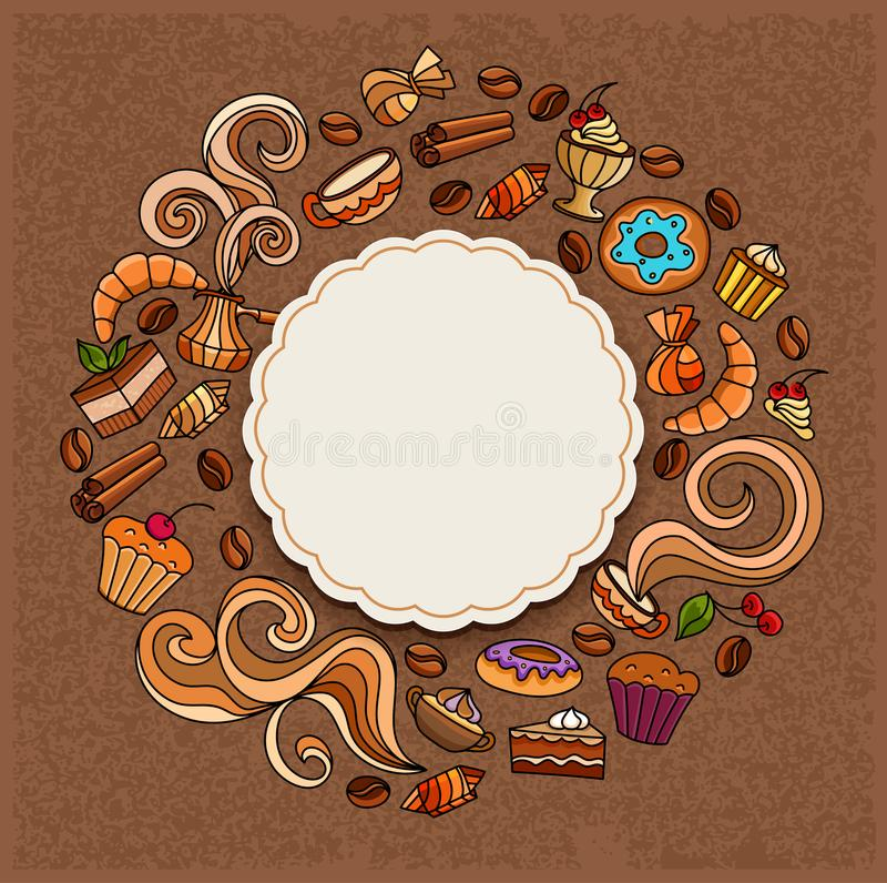 Hand-drawn vector doodles on a coffee theme: cups, turka, curls, cake, cinnamon, donuts, candies, coffee beans, sweets. Elements stock illustration