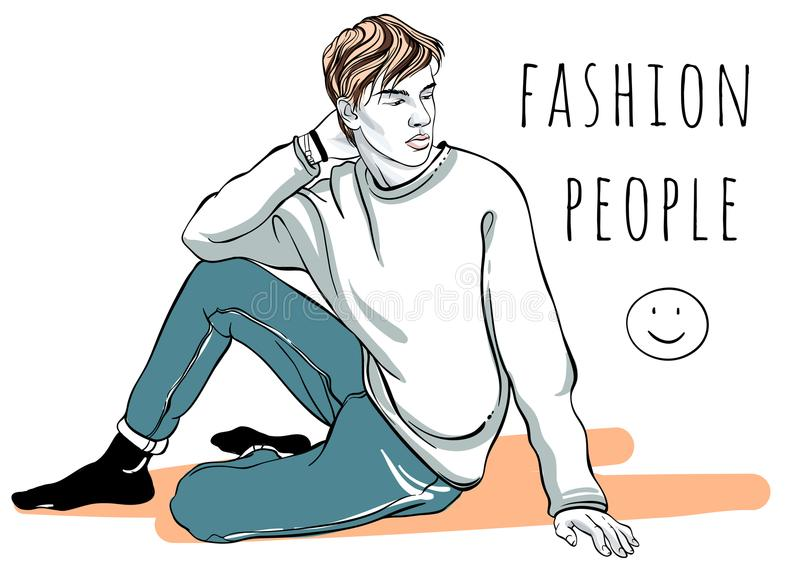 Hand drawn vector fashion man portrait. Fashion people. Graphic stylish illustration. Quick sketching outline picture. royalty free illustration