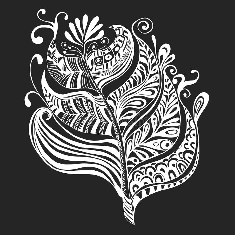 Hand drawn vector feather Tribal art. Hand drawn vector feather Tribal ornament for fashion and wallpaper royalty free illustration