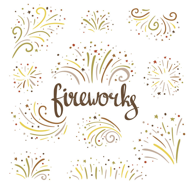 Hand drawn vector fireworks on white background. Hand drawn vector colorful fireworks on white background vector illustration