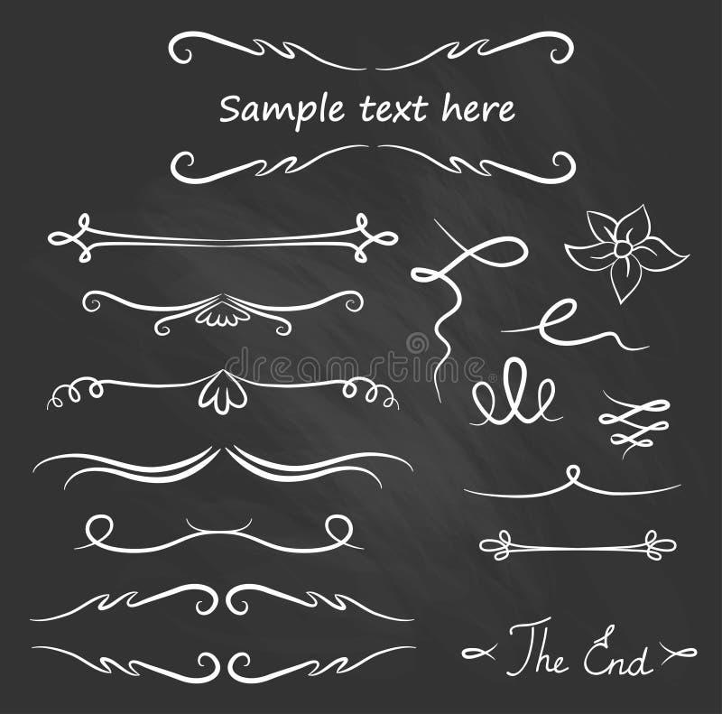 Hand Drawn Vector Flourishes, Accent Text (vector). Chalk set vector illustration