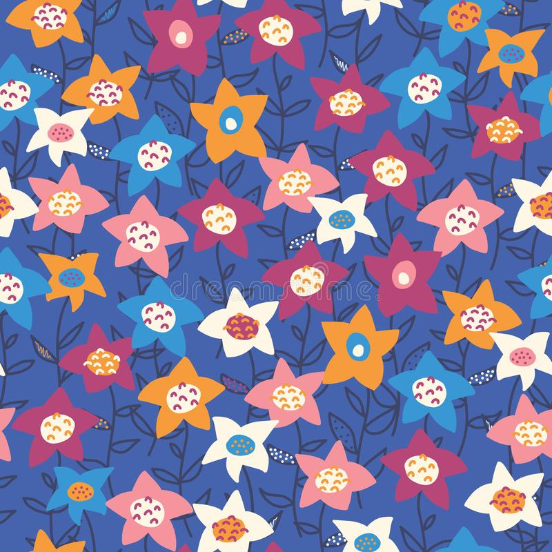 Hand drawn vector flower field orange purple white blue pattern. Seamless floral background. Summer or spring nature royalty free illustration
