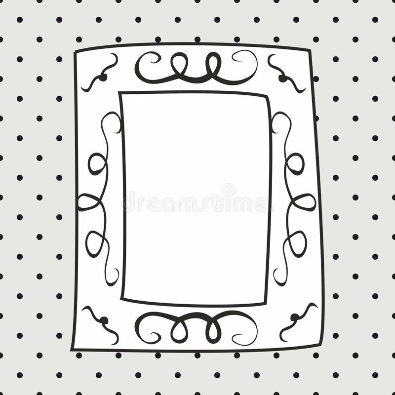 Hand drawn vector frame on polka dots grey background stock illustration