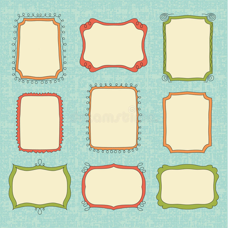 Hand-Drawn vector frames stock illustration