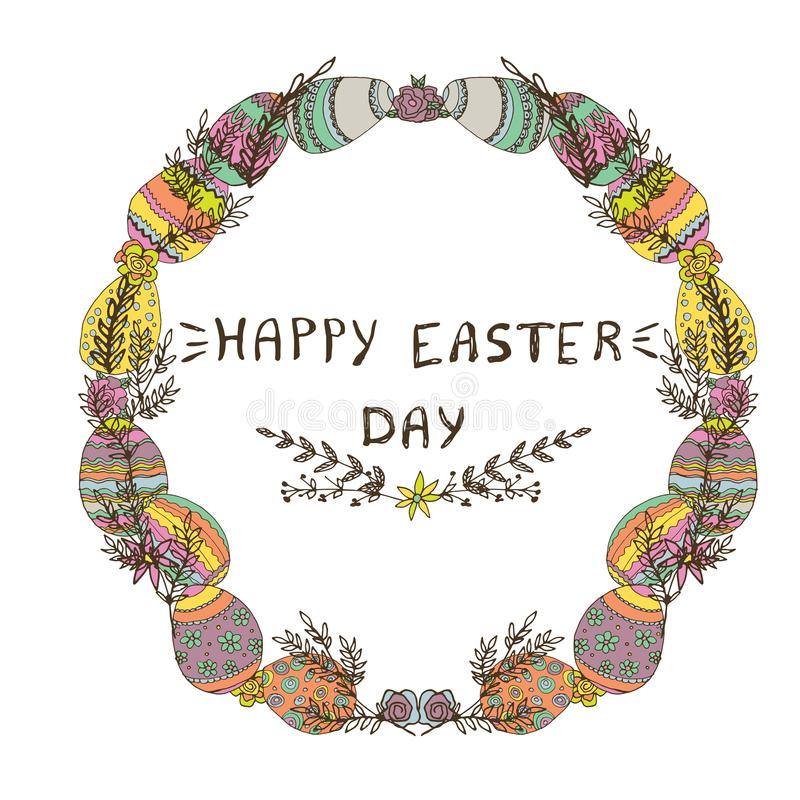 Hand drawn vector greeting card. Happy Easter day wreath. Colorful easter eggs, spring flowers, blossom. Lettering. vector illustration