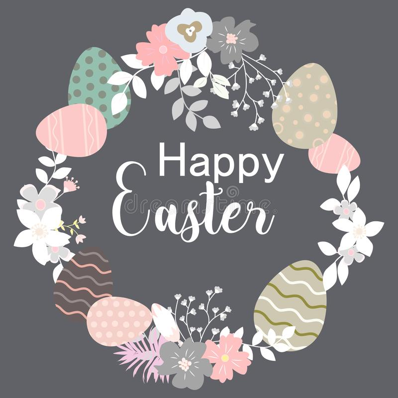 Hand drawn vector greeting card. Happy Easter day wreath. Colorful easter eggs, spring flowers, blossom. stock illustration