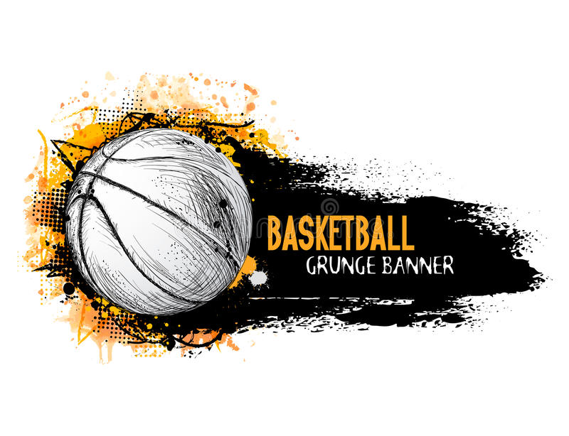 Hand drawn vector grunge banner with basketball ball royalty free stock photo