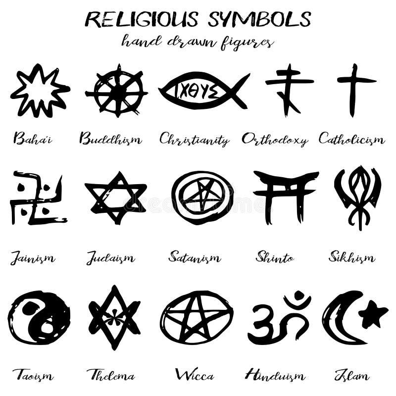 Hand Drawn Vector Grunge Religious Symbols Stock Vector